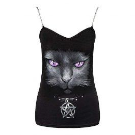 Camiseta Gótica con Gato y Cadenas
