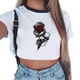 Crop Top Rose – Camiseta Mujer