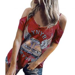Liberty Road (Rojo) – Camiseta Hombros Descubiertos