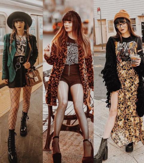 Vestir grunge requiere que te pongas varias capas de ropa encima, como puedes ver en estos tres ejemplos. Además, si te pones camisetas de grupos de música rockeros mucho mejor.